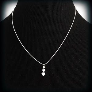 Silver Plated 3 CZ Heart Necklace EUC